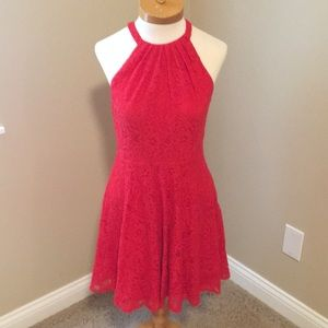 EXPRESS Red Lace Halter Fit and Flare Dress